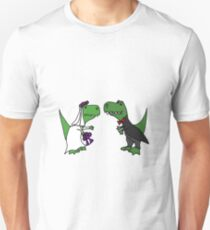 Funny Green T-Rex Dinosaur Bride and Groom Unisex T-Shirt
