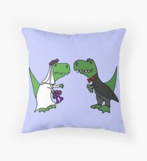 Funny Green T-Rex Dinosaur Bride and Groom Throw Pillow