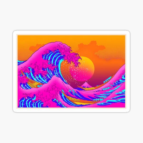 great wave off kanagawa neonwave Sticker