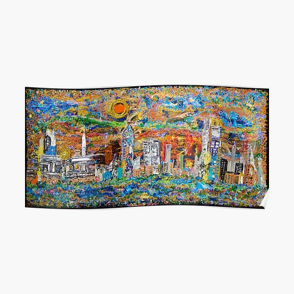 3D Layered Resin City Art Coffee Table by Chicago Artist Gary Bradley Poster