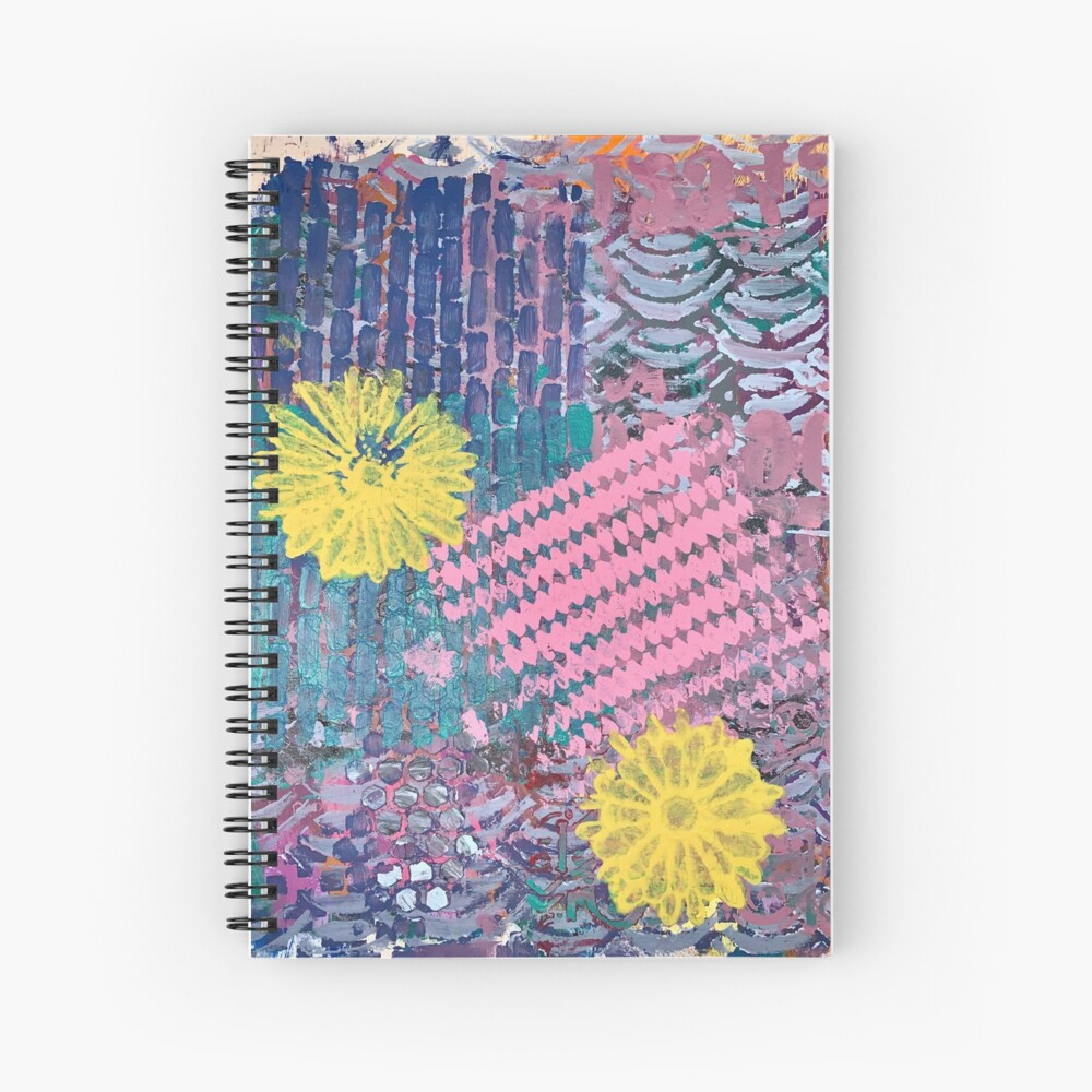 Yellow Flowers in Pink and Purple Fields  Spiral Notebook