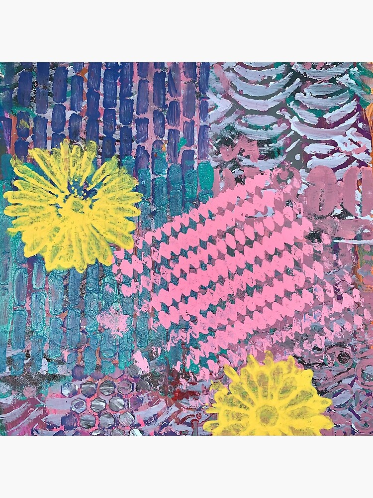 Yellow Flowers in Pink and Purple Fields  by Margaretmilrose