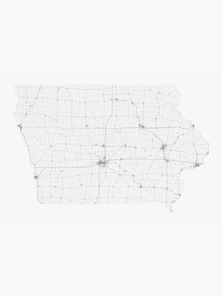 Roads of Iowa. (Black on white) by Graphical-Maps