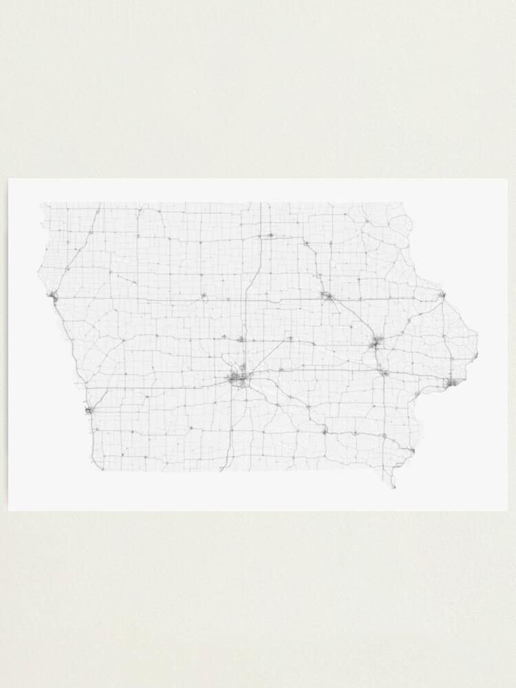 Alternate view of Roads of Iowa. (Black on white) Photographic Print