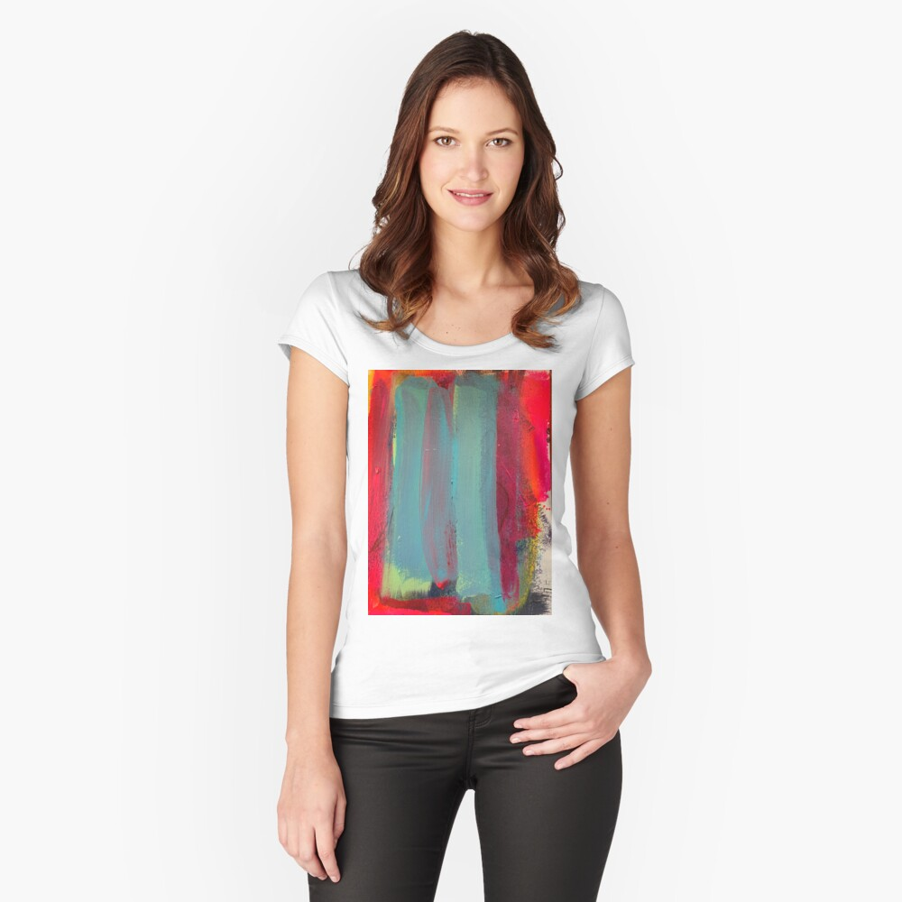 Neon Stripes  Fitted Scoop T-Shirt
