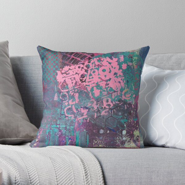 Grungy Pink Princess   Throw Pillow
