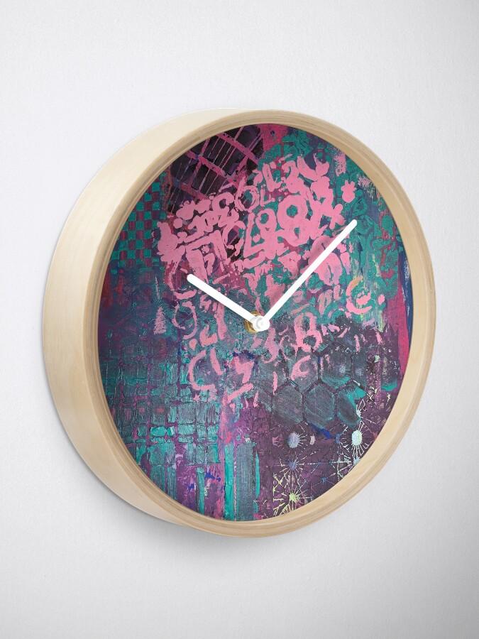 Alternate view of Grungy Pink Princess   Clock