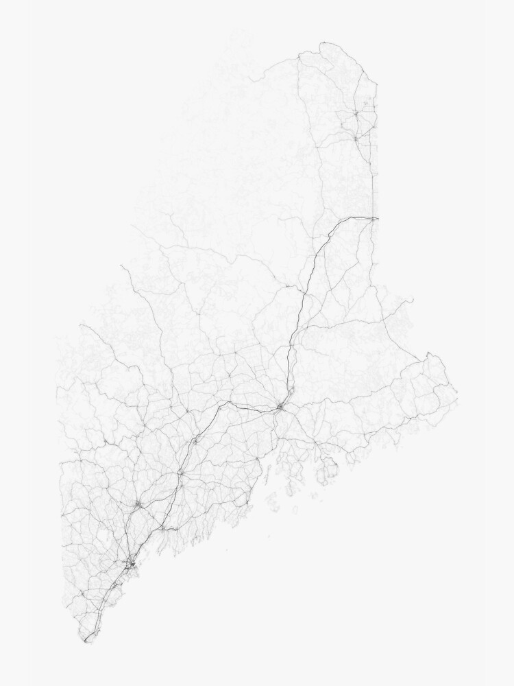 Roads of Maine. (Black on white) by Graphical-Maps