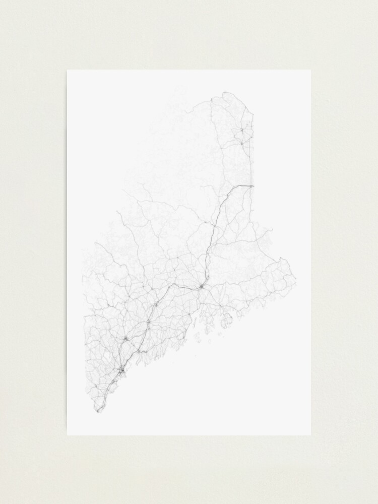 Alternate view of Roads of Maine. (Black on white) Photographic Print