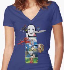 Keine Face-Hayao Miyazaki Filme Shirt mit V-Ausschnitt