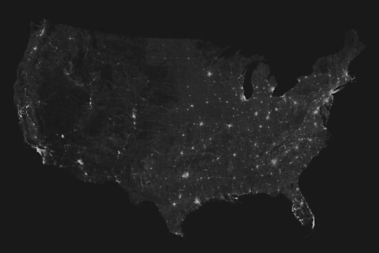 Roads of USA. (White on black) by Graphical-Maps