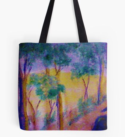 Eucolptus trees on slope, watercolor Tote Bag