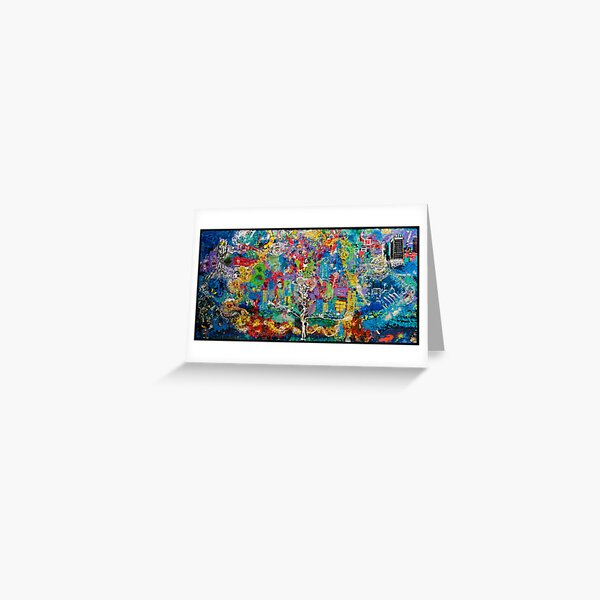 3D Layered Resin Landscape Art Coffee Table by Chicago Artist Gary Bradley Greeting Card