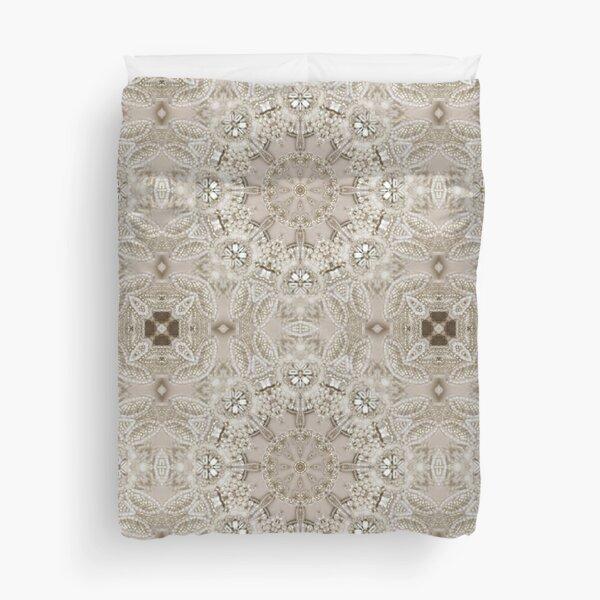 Paris Fashion Bling pearl Vintage beige grey Duvet Cover