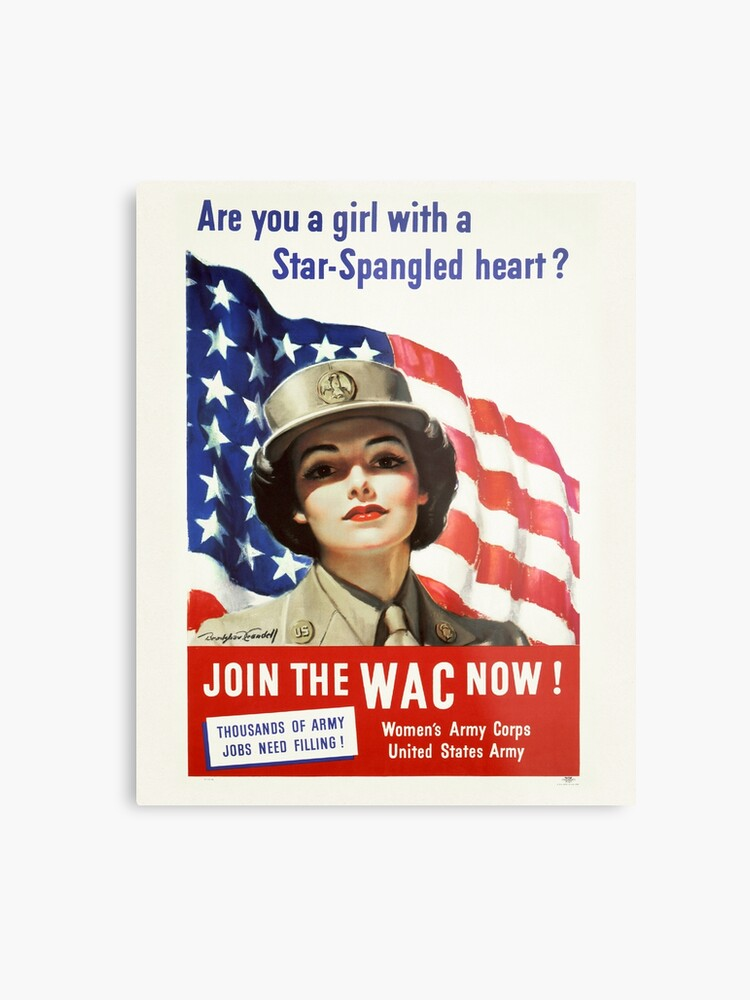 Army Nurse Recruiting Vintage Poster ~ Join the WAC Now! ~ World War 2 WWII  ~ 0580 | Metal Print