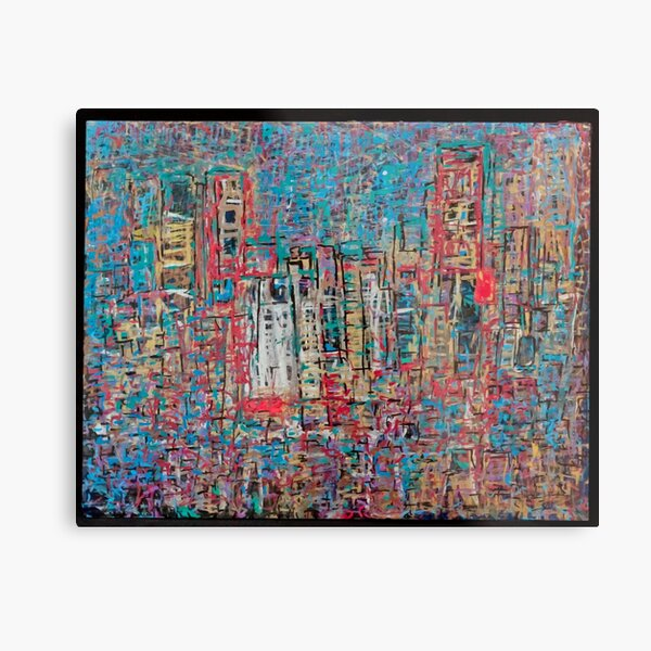 Abstract Marker Drawing of City by Chicago Artist Gary Bradley Metal Print