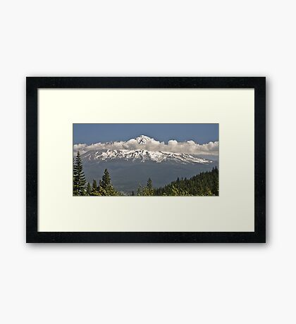 Shasta with Clouds Framed Print