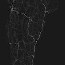 Roads of Vermont. (White on black) von Graphical-Maps