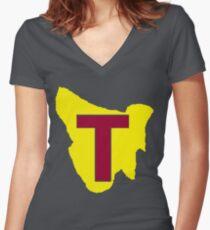 Map of Tassie Women's Fitted V-Neck T-Shirt