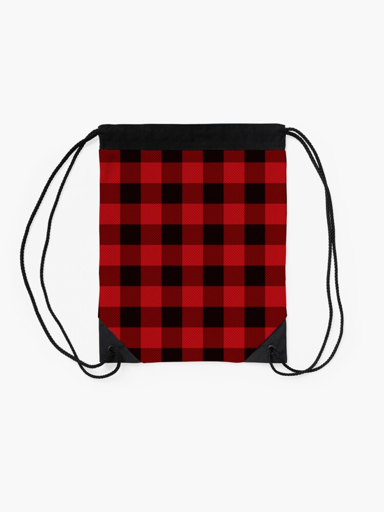 Alternate view of Country Christmas Cottage Primitive lumberjack Buffalo Plaid Drawstring Bag