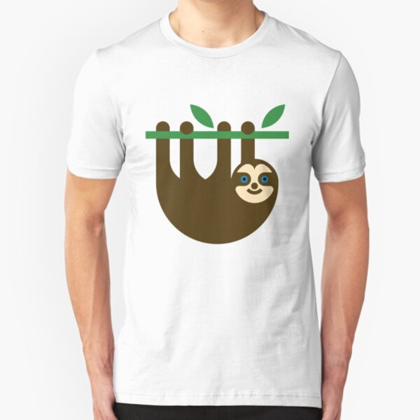 Cute Sloth Hanging on a Tree Slim Fit T-Shirt