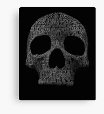 """Hamlet """"to be or not to be"""" typography skull Canvas Print"""