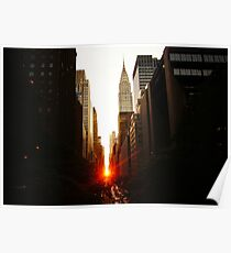 Manhattanhenge Sunset Looking Down 42nd Street Poster