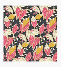 Seamless floral pattern with hand drawn leaves Photographic Print