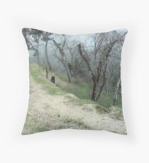 Walking Down The Forest Road  Throw Pillow