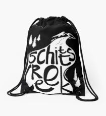 Schitt's Creek hand lettering in Creek flowing from Mountains Drawstring Bag