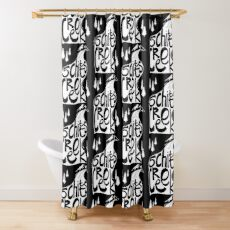 Schitt's Creek hand lettering in Creek flowing from Mountains Shower Curtain