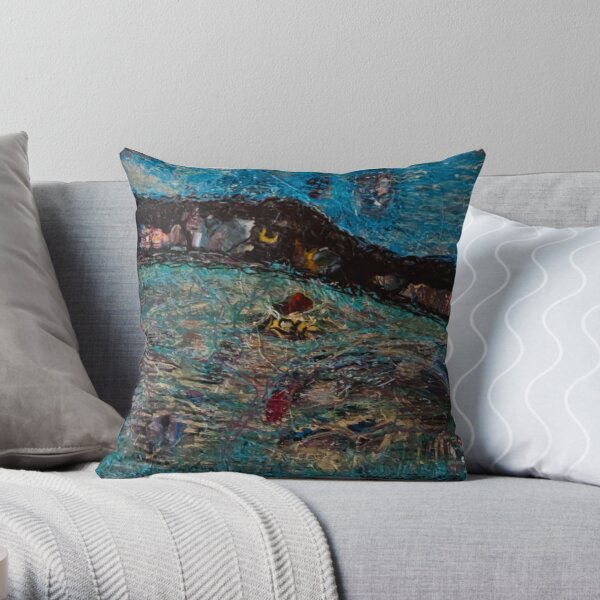 Acrylic Painting on Wood by Chicago Artist Gary Bradley Throw Pillow