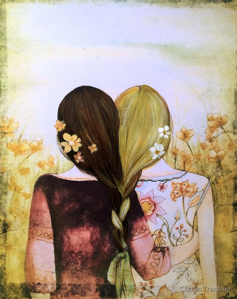 Sisters best friends blonde and brown hair by Claudia Tremblay
