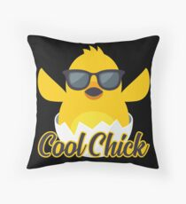 Cool Chick Emoji Meme Throw Pillow