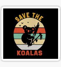 Save the Koalas Cute Retro Animal Lovers Sticker