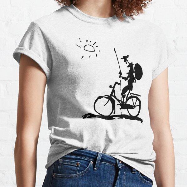 Pablo Picasso Parody, Don Quichotte Riding Bike, oeuvre originale T-shirt classique