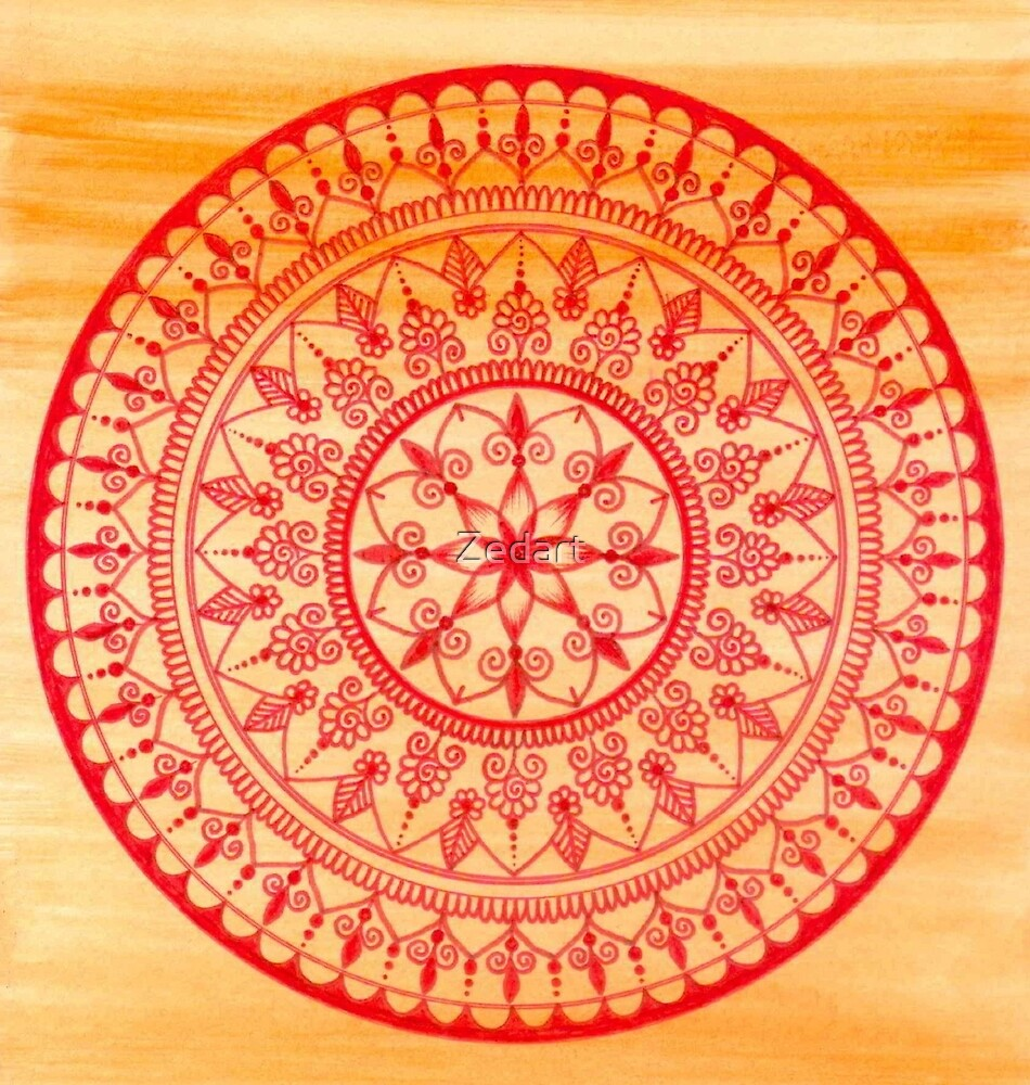 Hand Drawn Red And Orange Mandala by Zedart