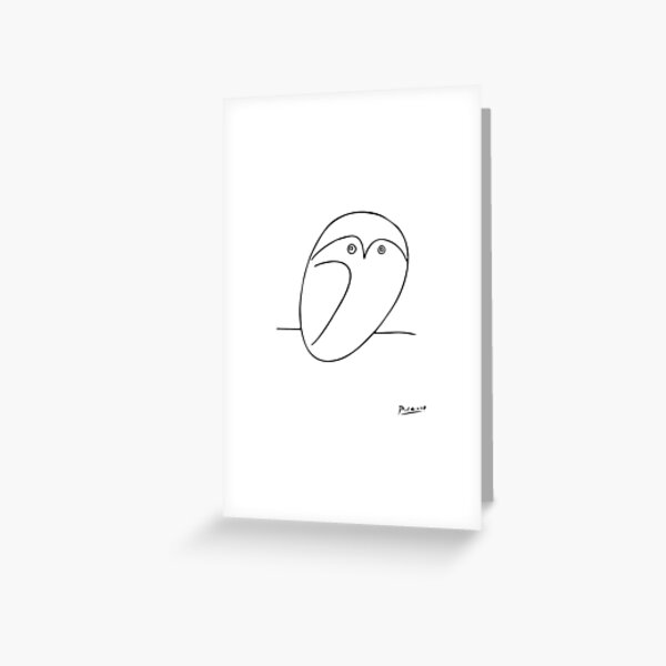 The Owl, Pablo PIcasso sketch drawing, line Design Greeting Card