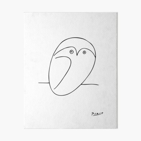 The Owl, Pablo PIcasso sketch drawing, line Design Art Board Print