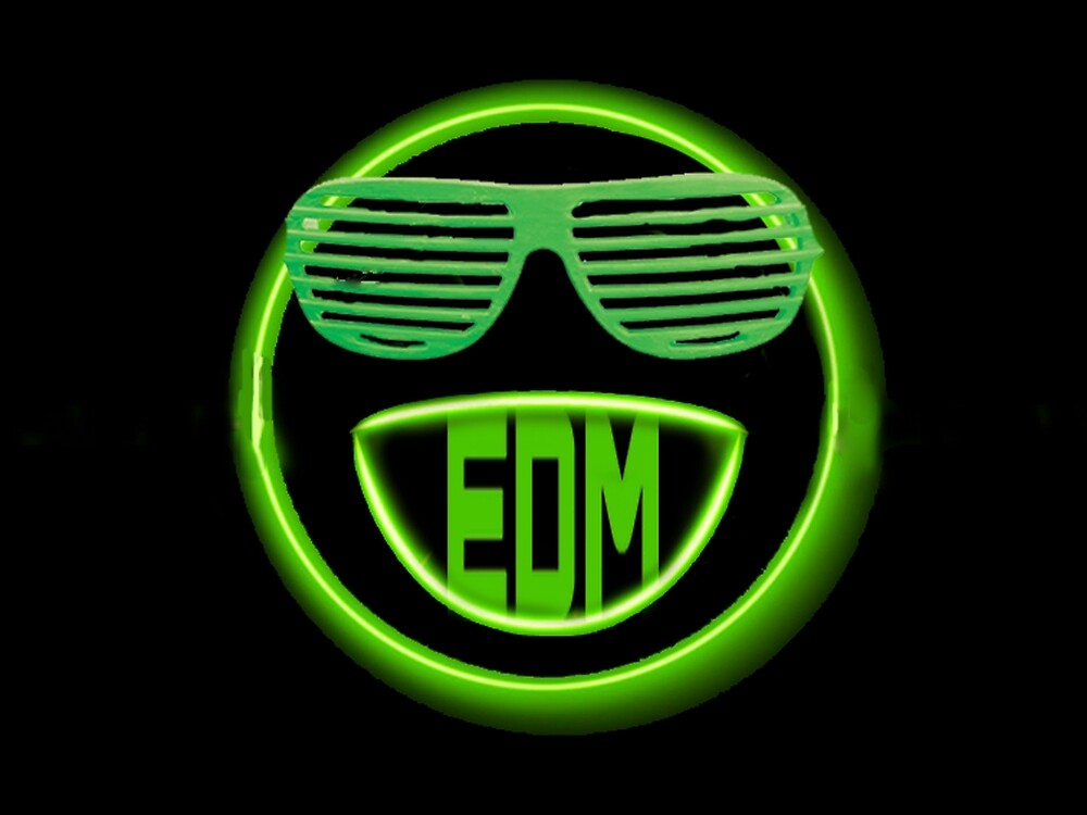 EDM neon smiley face with shades by YoungShade