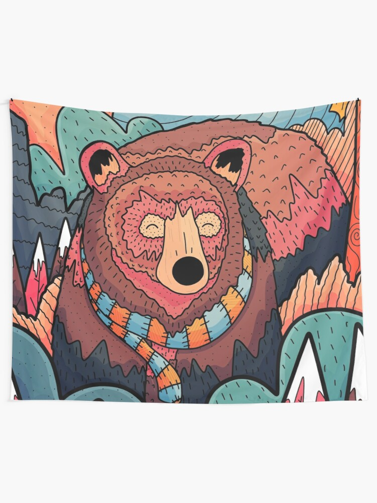 Alternate view of Winter bear forest Tapestry