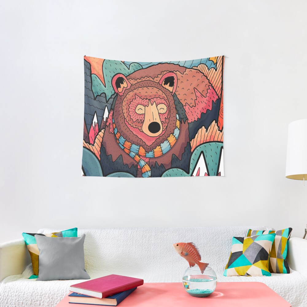 Winter bear forest Tapestry