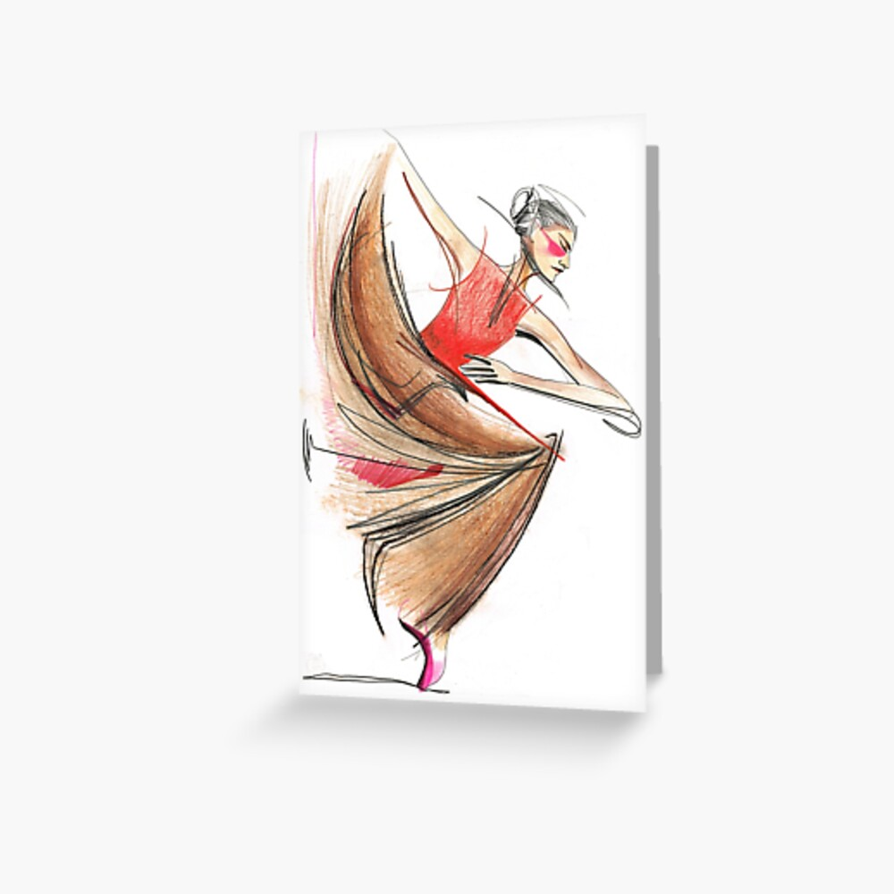 Expressive Dancer Dance Drawing Greeting Card