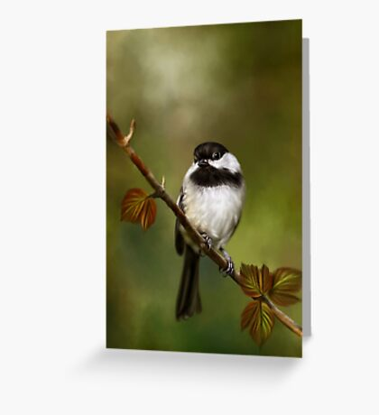 Autumn Chickadee Painting Greeting Card