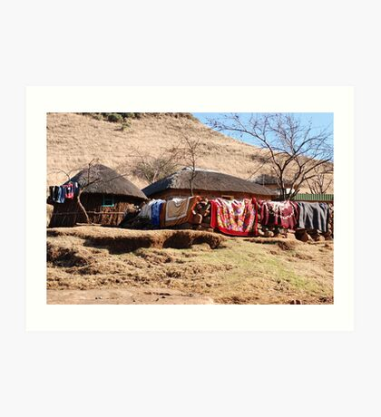 drying the washing, lesotho Art Print