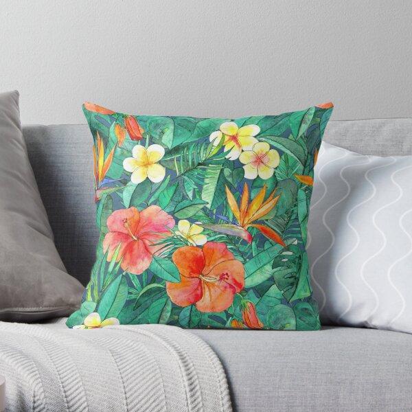 Classic Tropical Garden Throw Pillow
