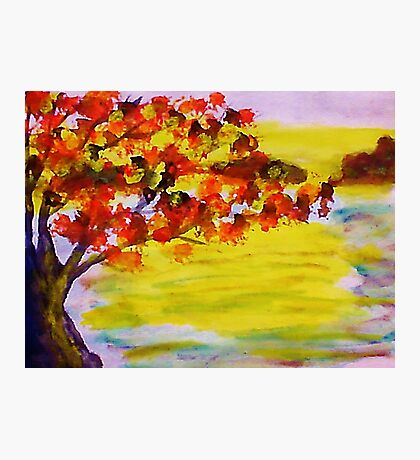 Fall leaves, watercolor Photographic Print