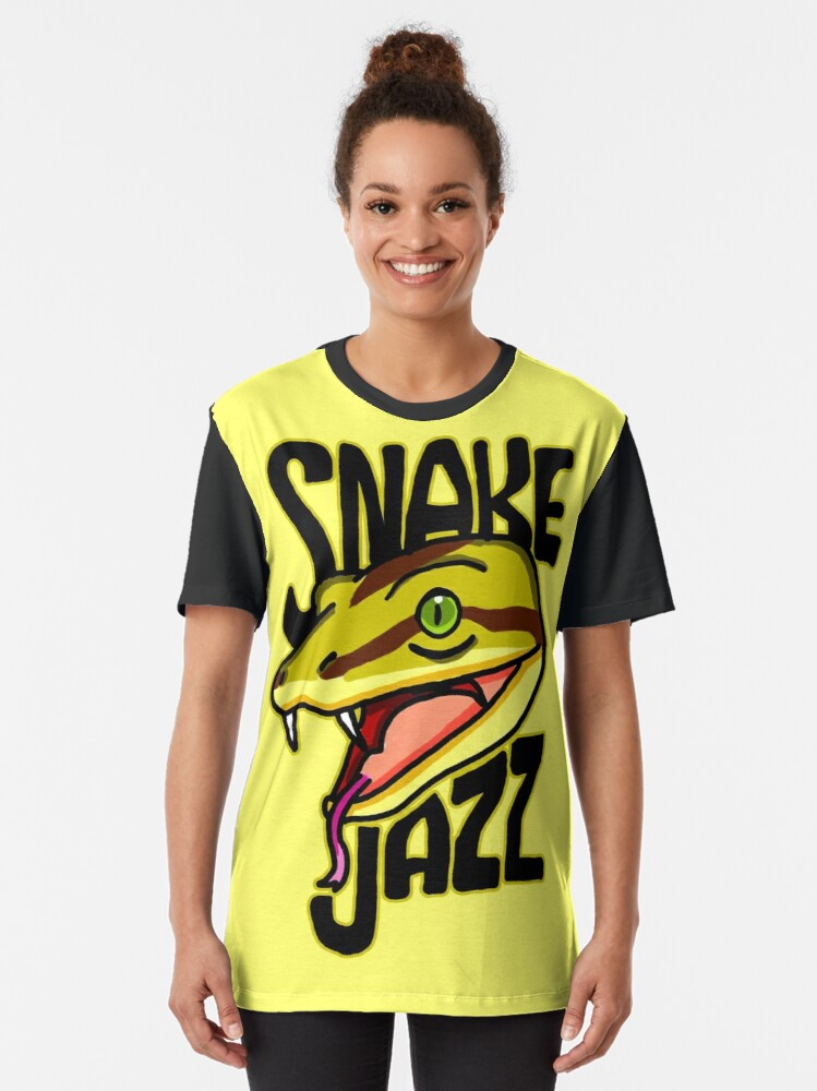 Alternate view of Snake Jazz Rick and Morty™ featuring Slippy the Snake from Season 4 Graphic T-Shirt