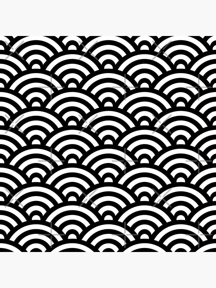 Black Japanese Inspired Waves Shell Pattern von ImageNugget