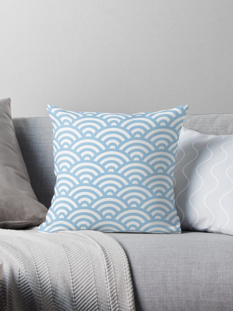 LightBlue Japanese Inspired Waves Shell Pattern by ImageNugget